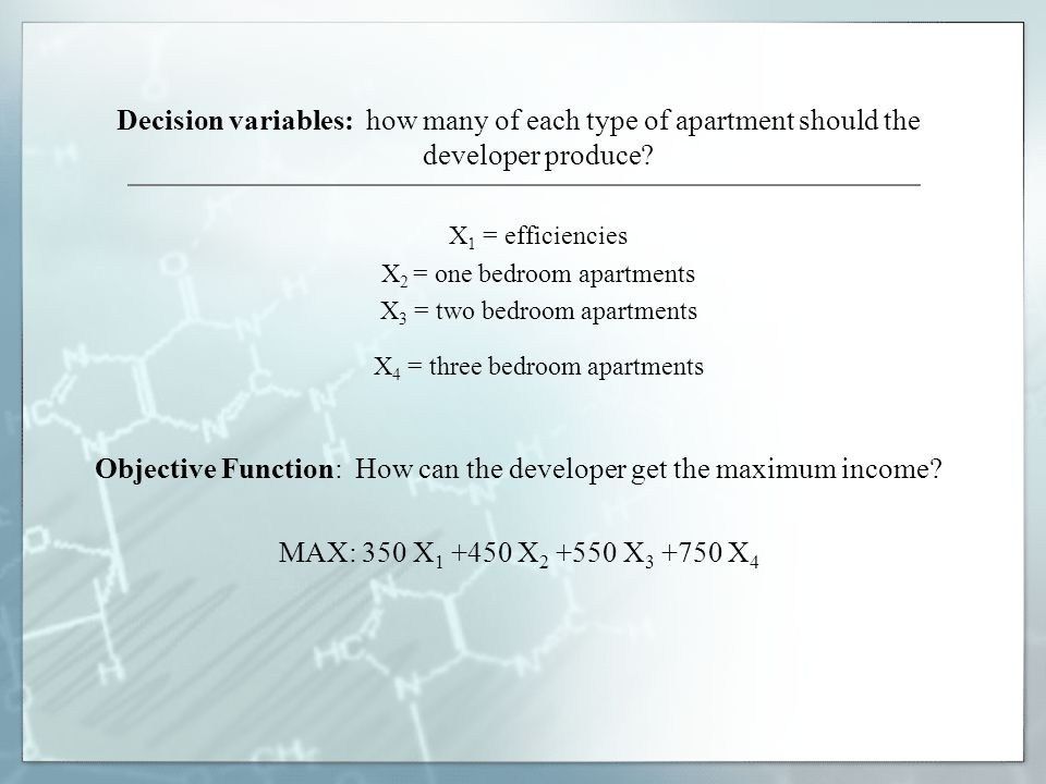 Objective Function: How can the developer get the maximum income