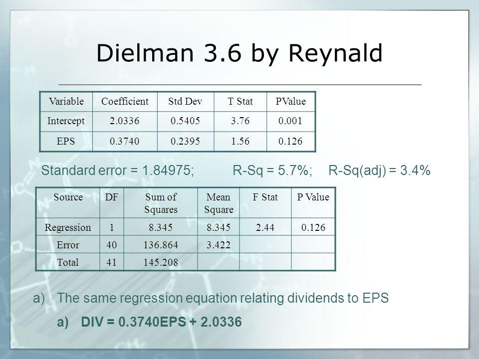 Dielman 3.6 by Reynald Variable. Coefficient. Std Dev. T Stat. PValue. Intercept. 2.0336. 0.5405.