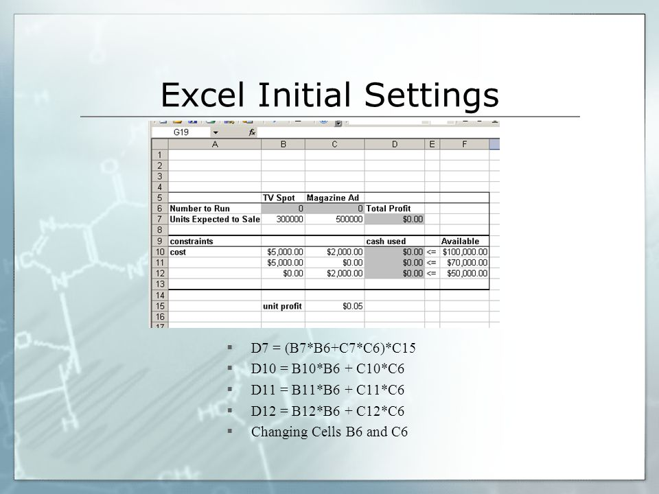 Excel Initial Settings