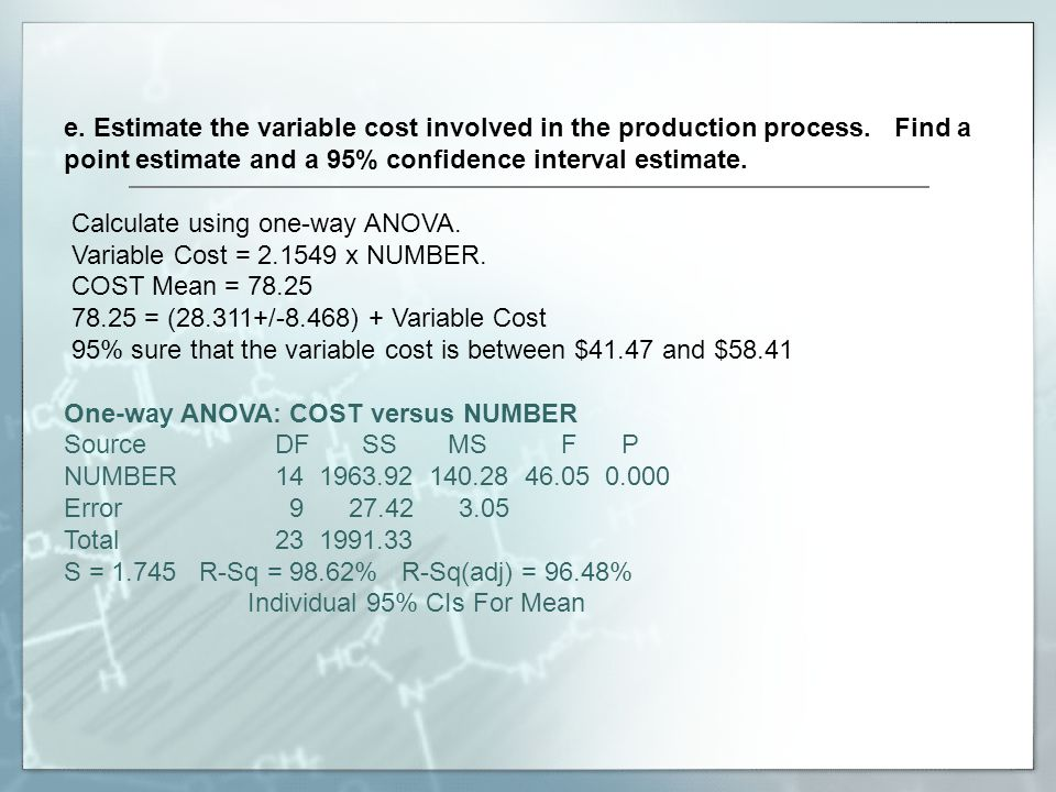 e. Estimate the variable cost involved in the production process
