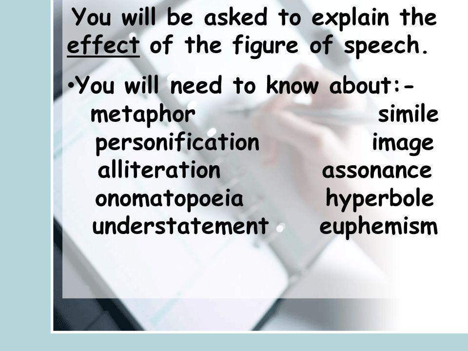 You will need to know about:- metaphor simile personification image