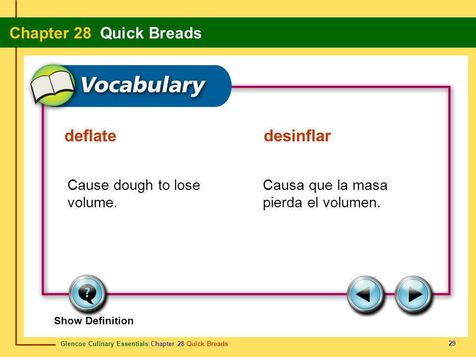deflate desinflar Cause dough to lose volume.