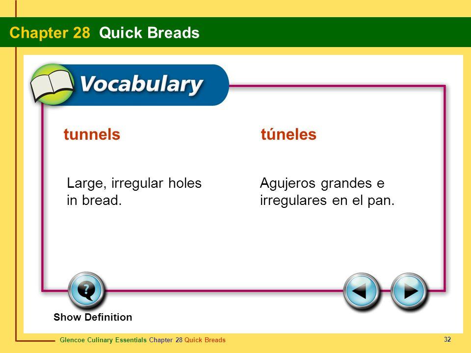 tunnels túneles Large, irregular holes in bread.