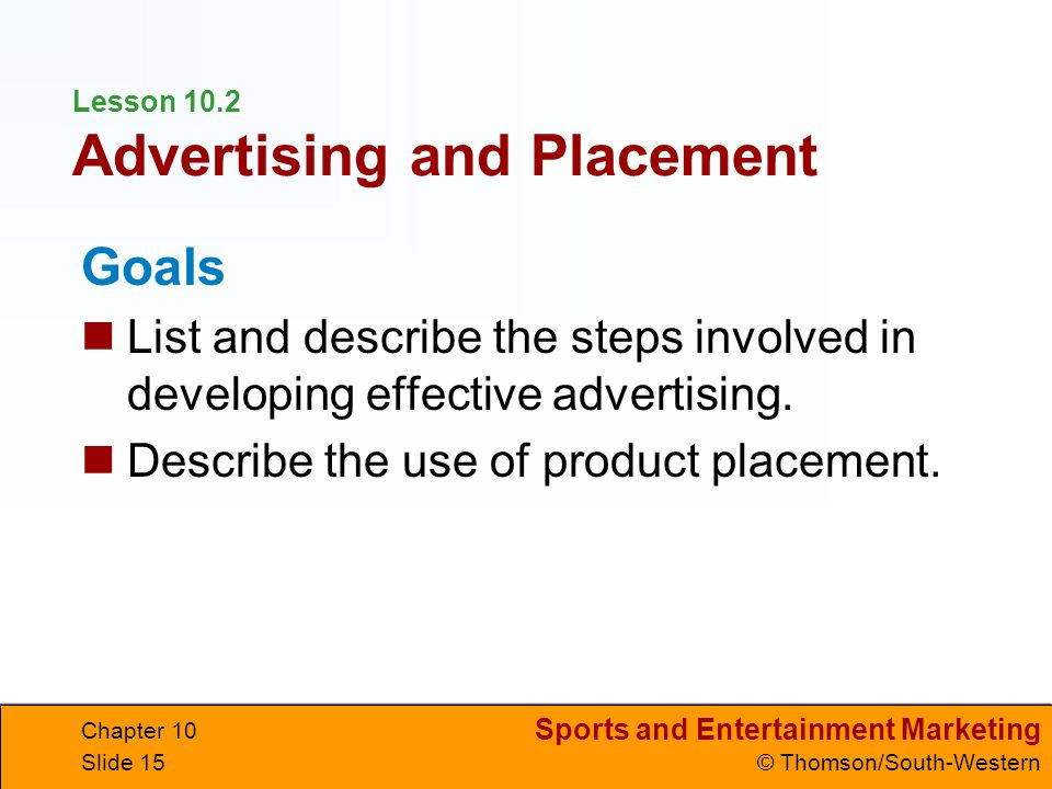 Lesson 10.2 Advertising and Placement
