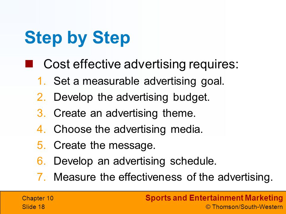 Step by Step Cost effective advertising requires: