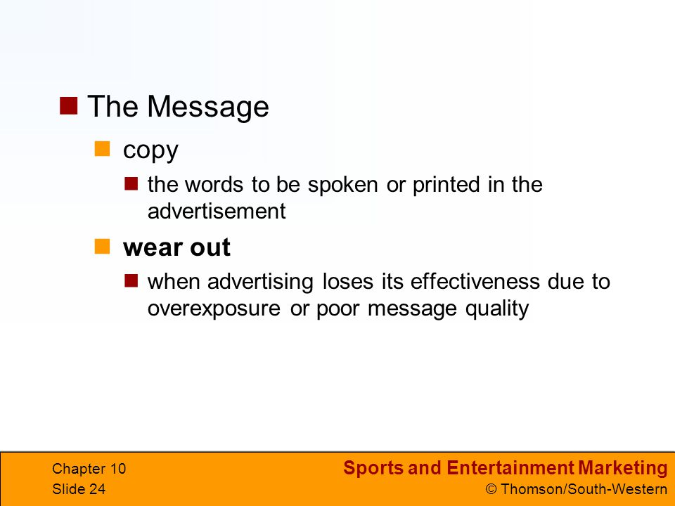 The Message copy wear out
