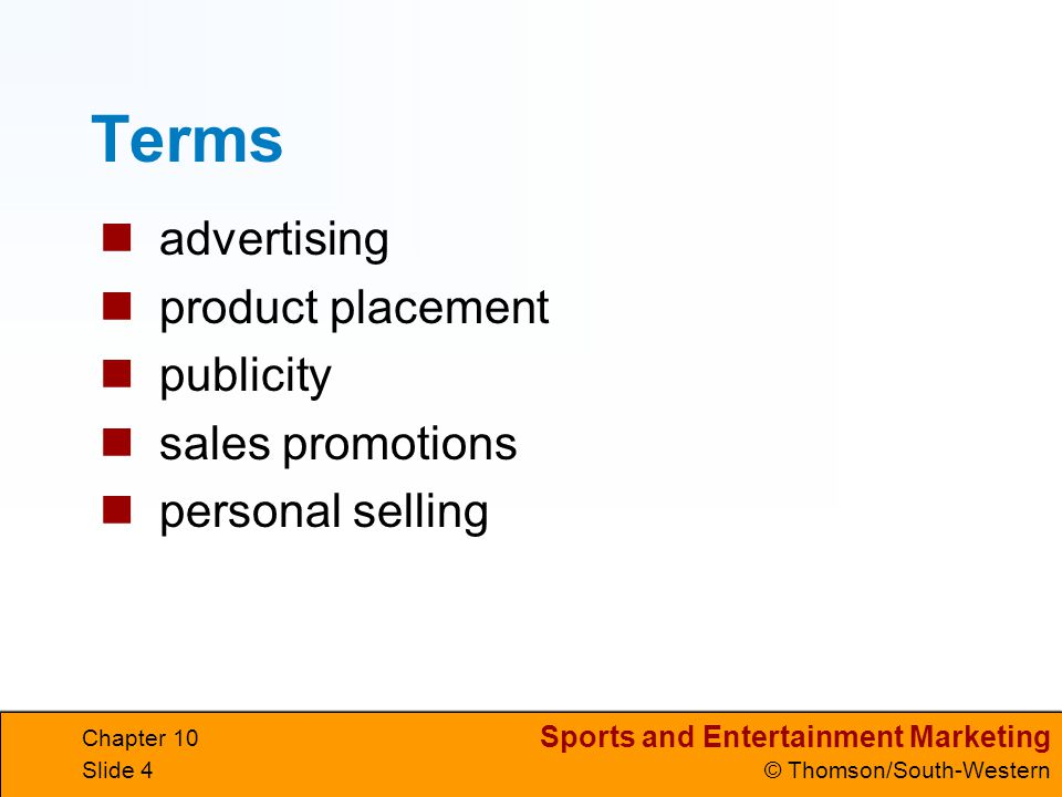 Terms advertising product placement publicity sales promotions
