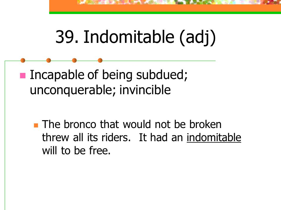 39. Indomitable (adj) Incapable of being subdued; unconquerable; invincible.