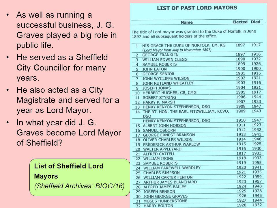 He served as a Sheffield City Councillor for many years.