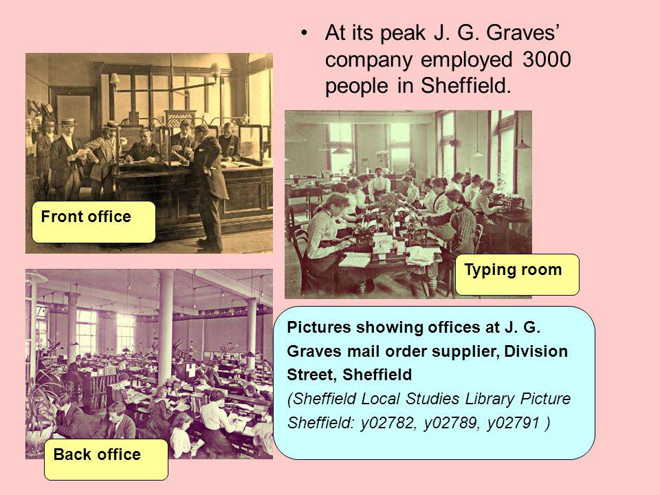 At its peak J. G. Graves' company employed 3000 people in Sheffield.