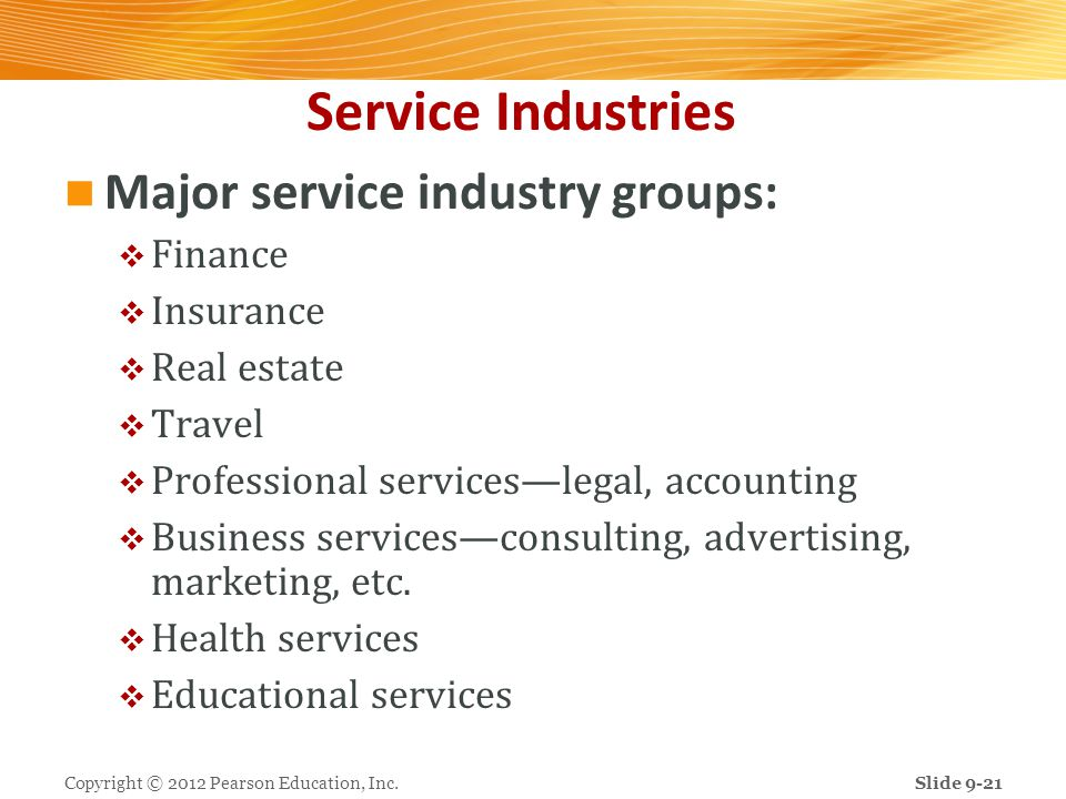Service Industries Major service industry groups: Finance Insurance