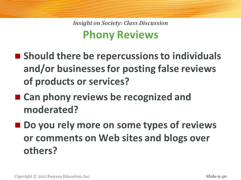 Phony Reviews Should there be repercussions to individuals and/or businesses for posting false reviews of products or services