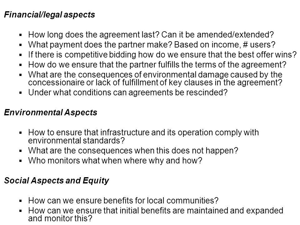 Financial/legal aspects