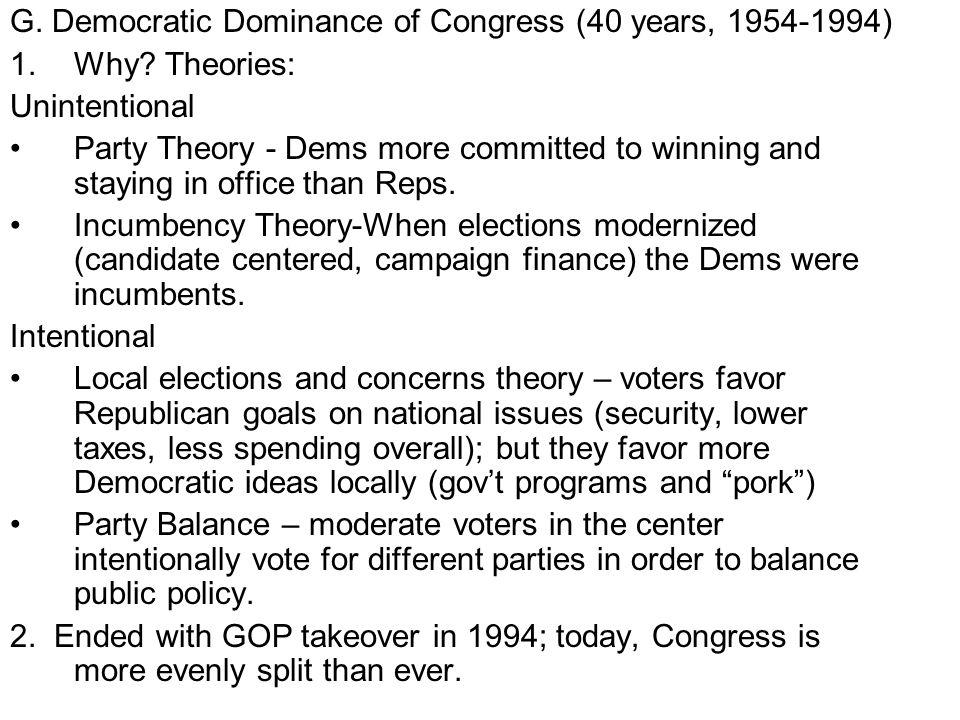 G. Democratic Dominance of Congress (40 years, 1954-1994)