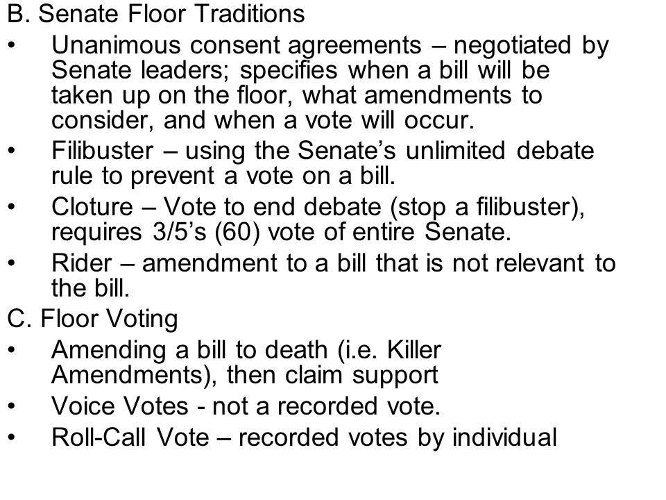 B. Senate Floor Traditions