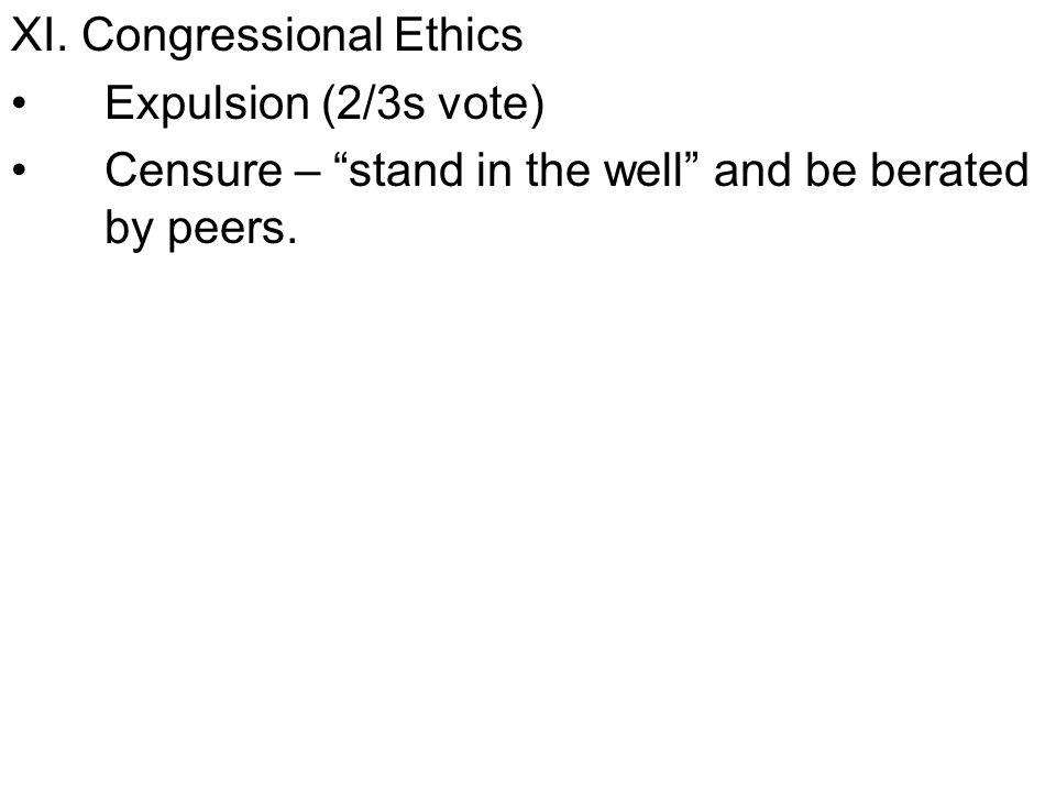 XI. Congressional Ethics