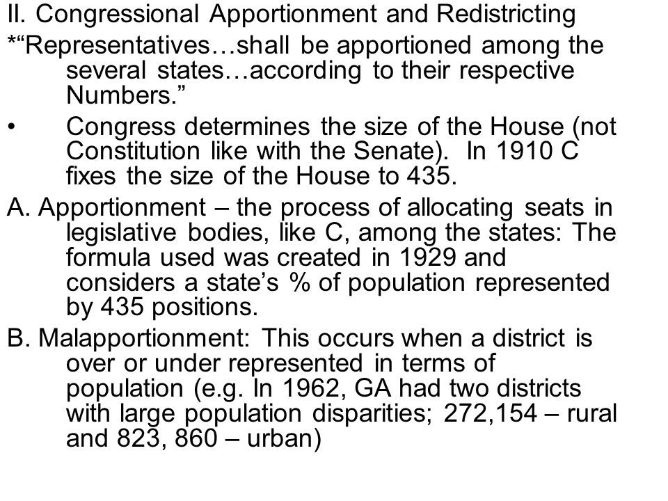 II. Congressional Apportionment and Redistricting