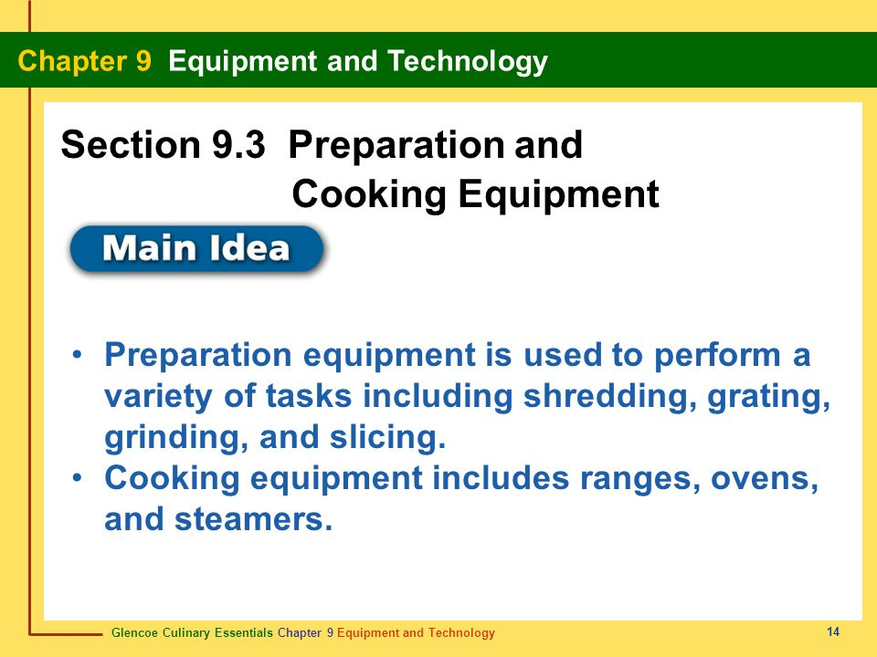 Section 9.3 Preparation and Cooking Equipment