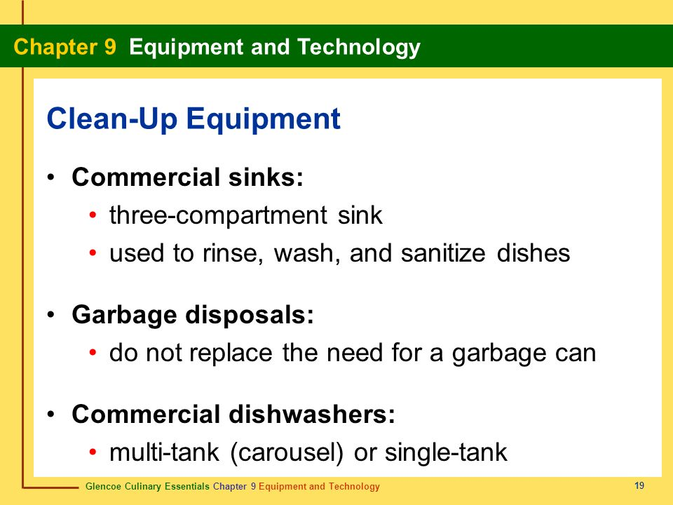 Clean-Up Equipment Commercial sinks: three-compartment sink
