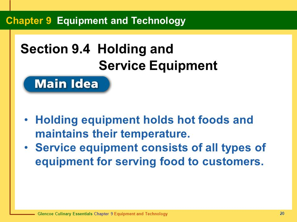 Section 9.4 Holding and Service Equipment