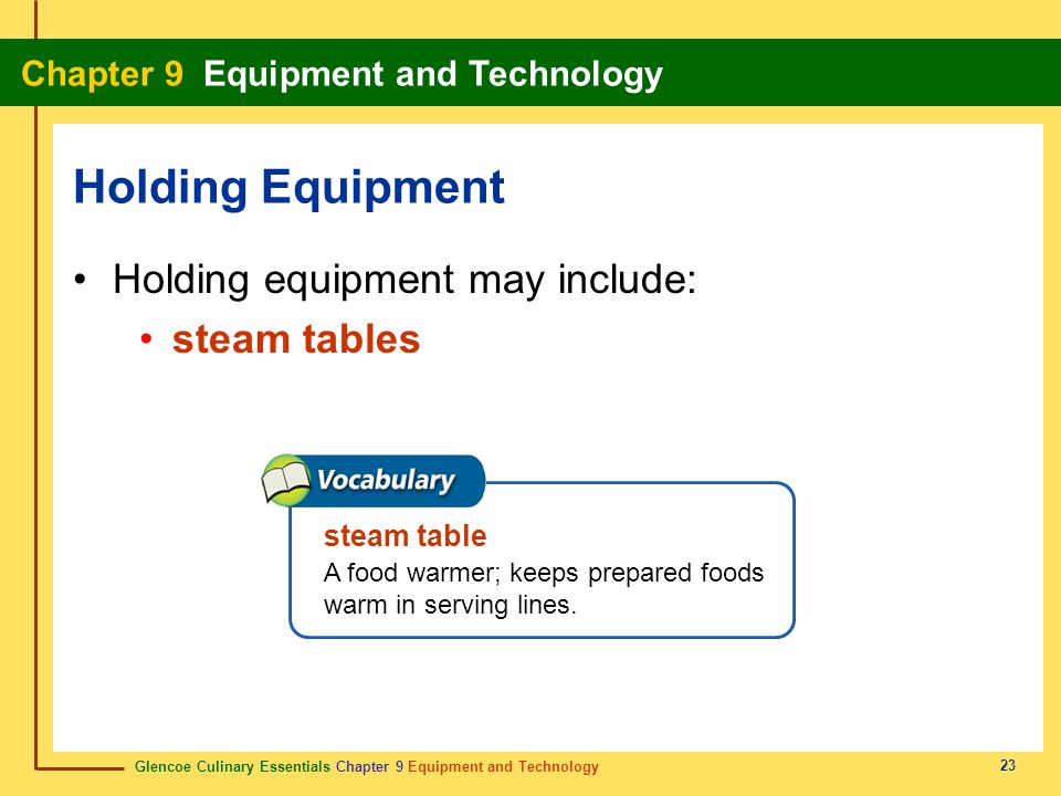 Holding Equipment Holding equipment may include: steam tables