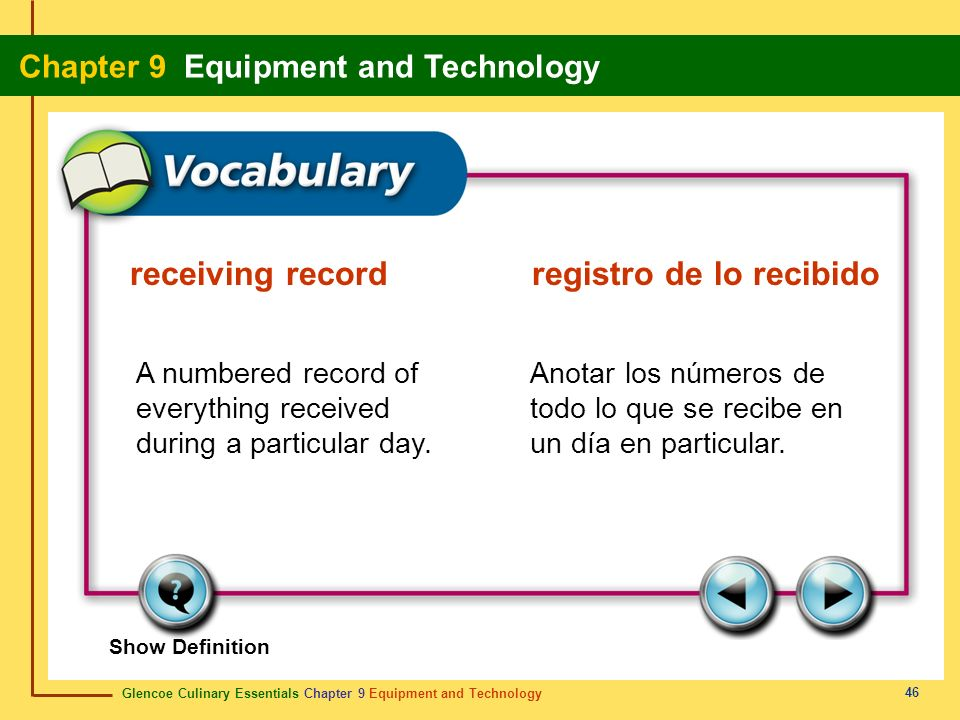 receiving record registro de lo recibido