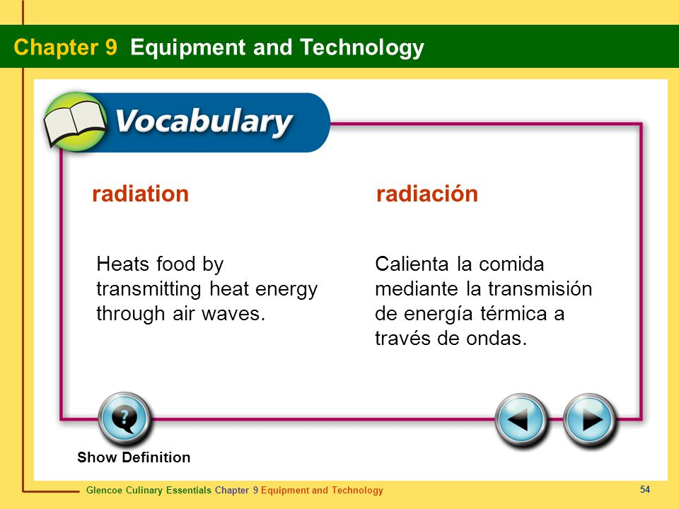 radiation radiación Heats food by transmitting heat energy through air waves.