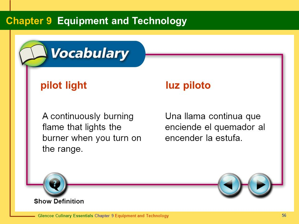 pilot light luz piloto A continuously burning flame that lights the burner when you turn on the range.