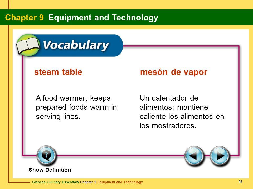steam table mesón de vapor