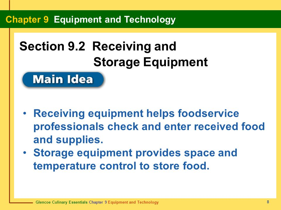 Section 9.2 Receiving and Storage Equipment