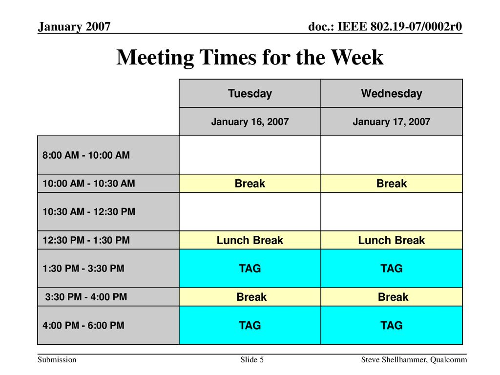 Meeting Times for the Week