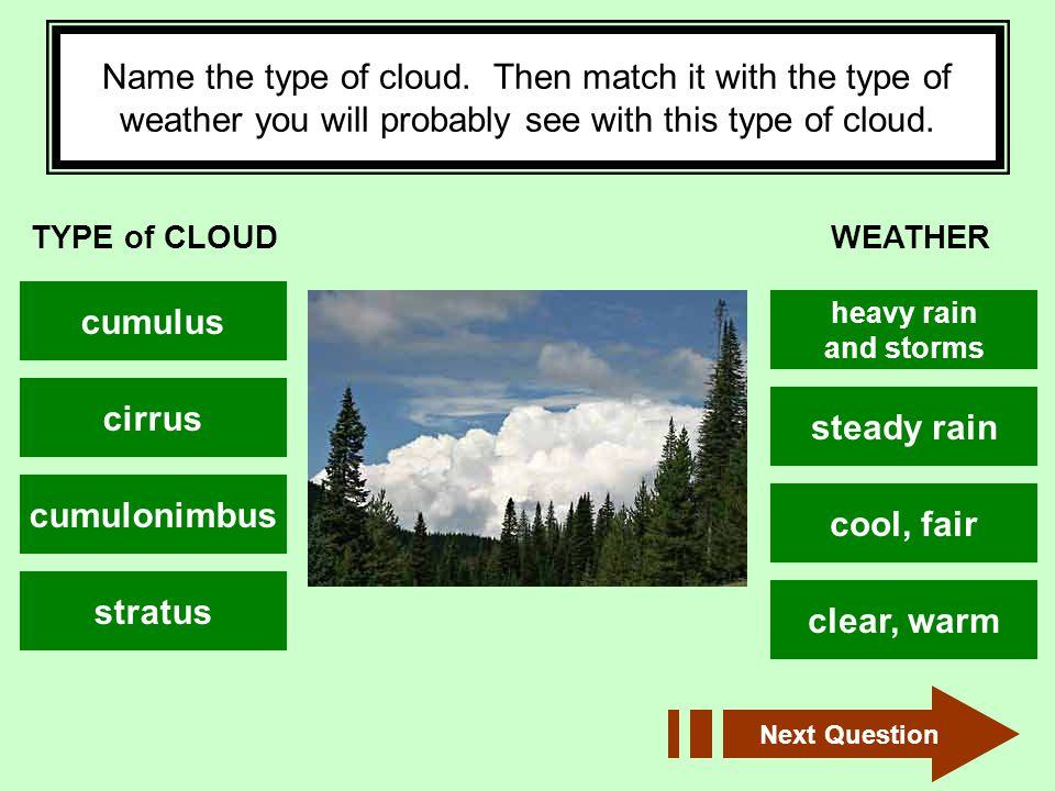 cumulus cirrus steady rain cumulonimbus cool, fair stratus clear, warm