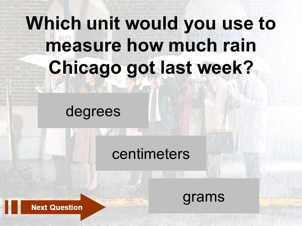 Which unit would you use to measure how much rain Chicago got last week