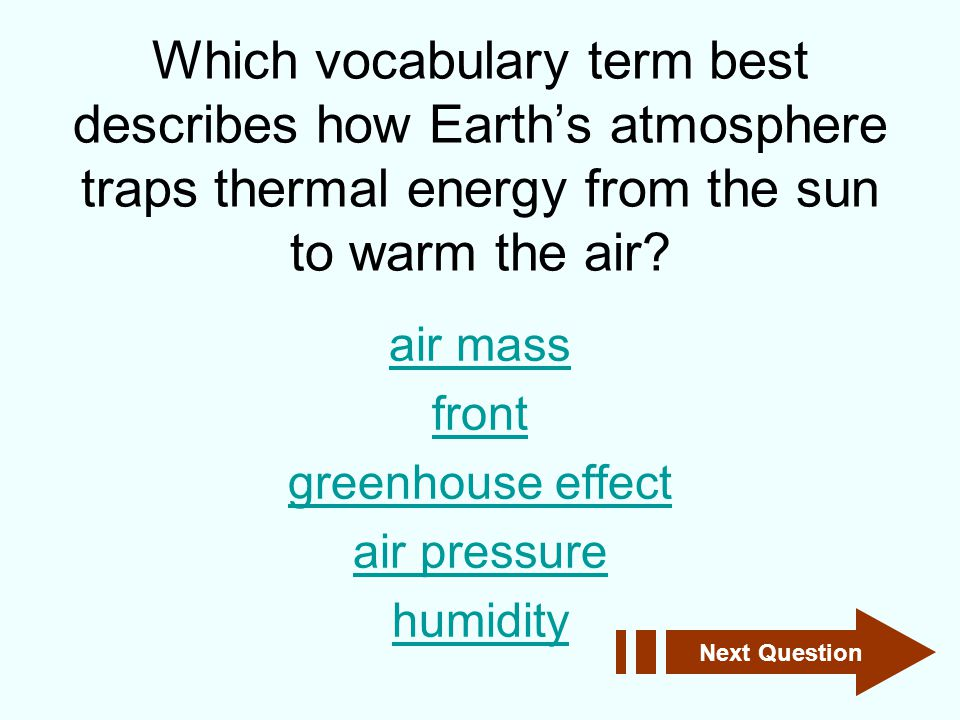 Which vocabulary term best describes how Earth's atmosphere traps thermal energy from the sun to warm the air