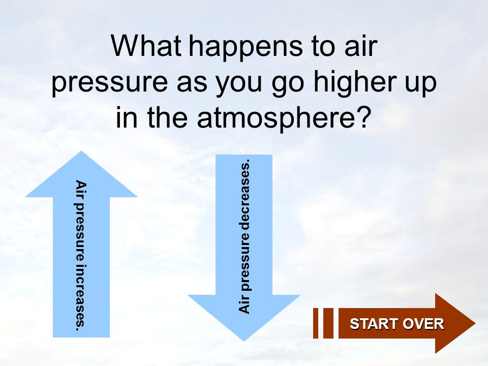 What happens to air pressure as you go higher up in the atmosphere