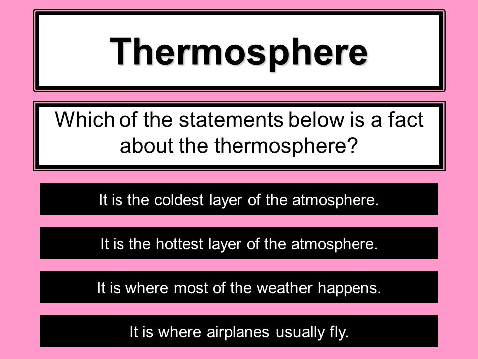 Which of the statements below is a fact about the thermosphere