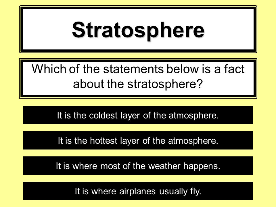 Which of the statements below is a fact about the stratosphere