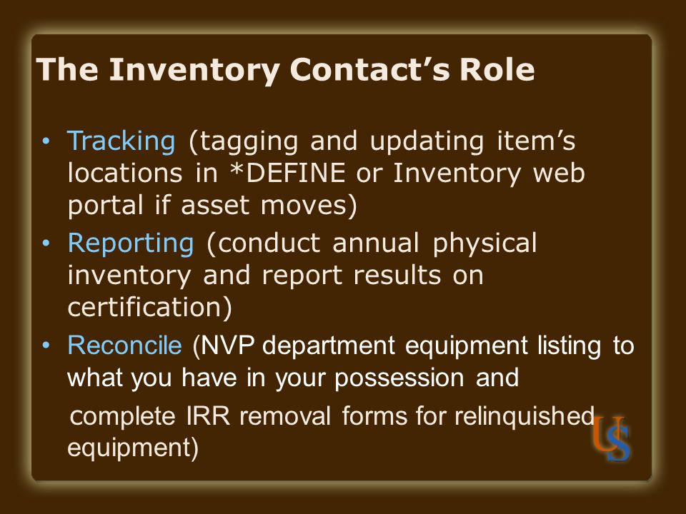 The Inventory Contact's Role