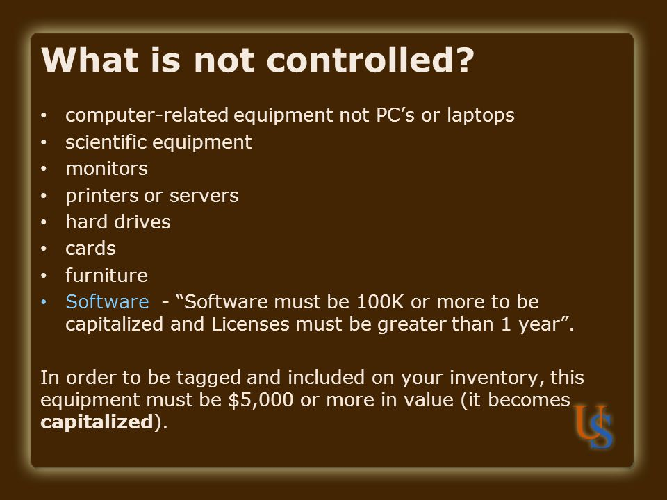What is not controlled computer-related equipment not PC's or laptops