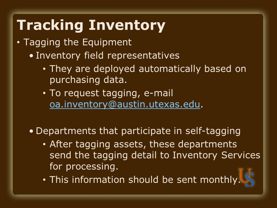 Tracking Inventory Tagging the Equipment