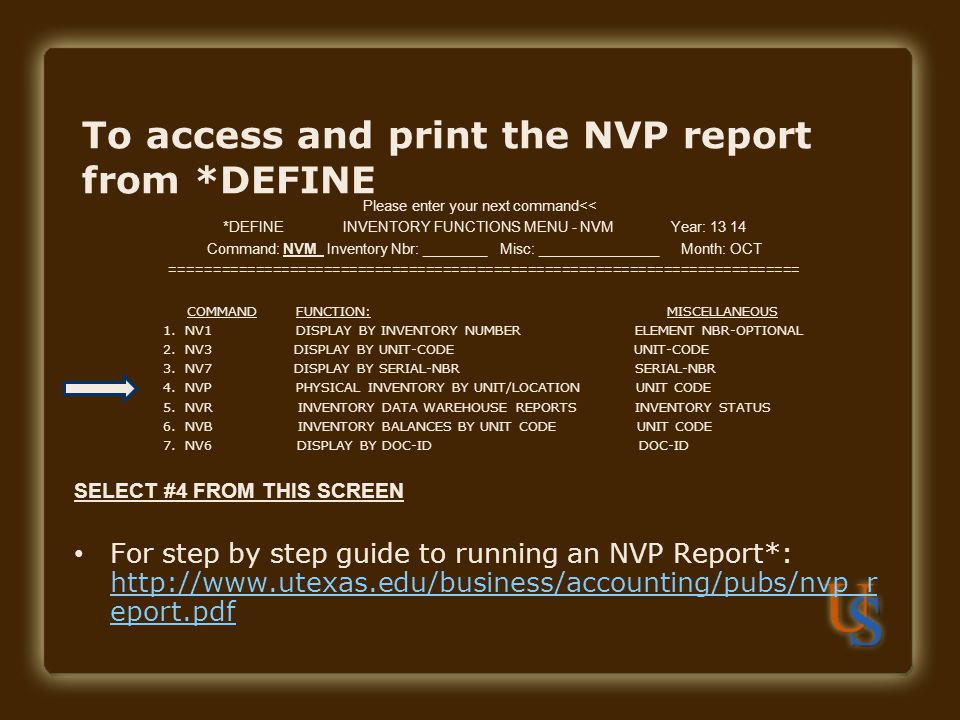 To access and print the NVP report from *DEFINE