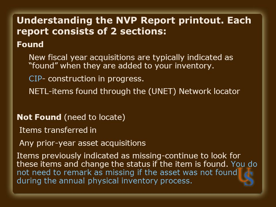 Understanding the NVP Report printout