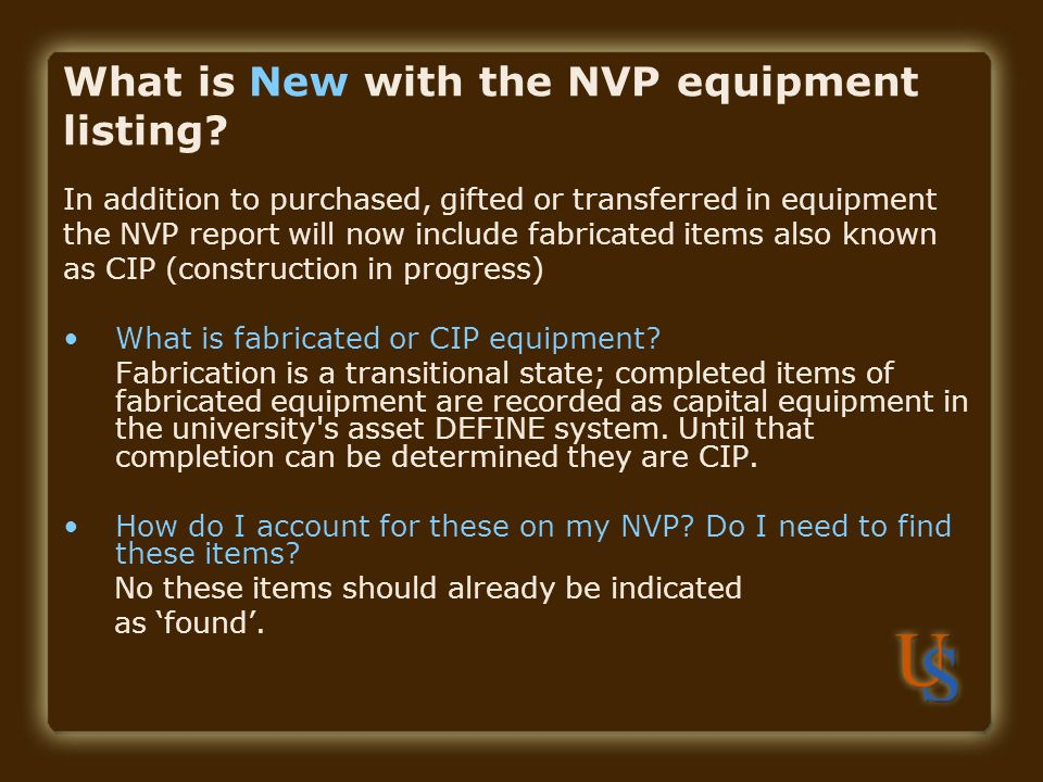 What is New with the NVP equipment listing