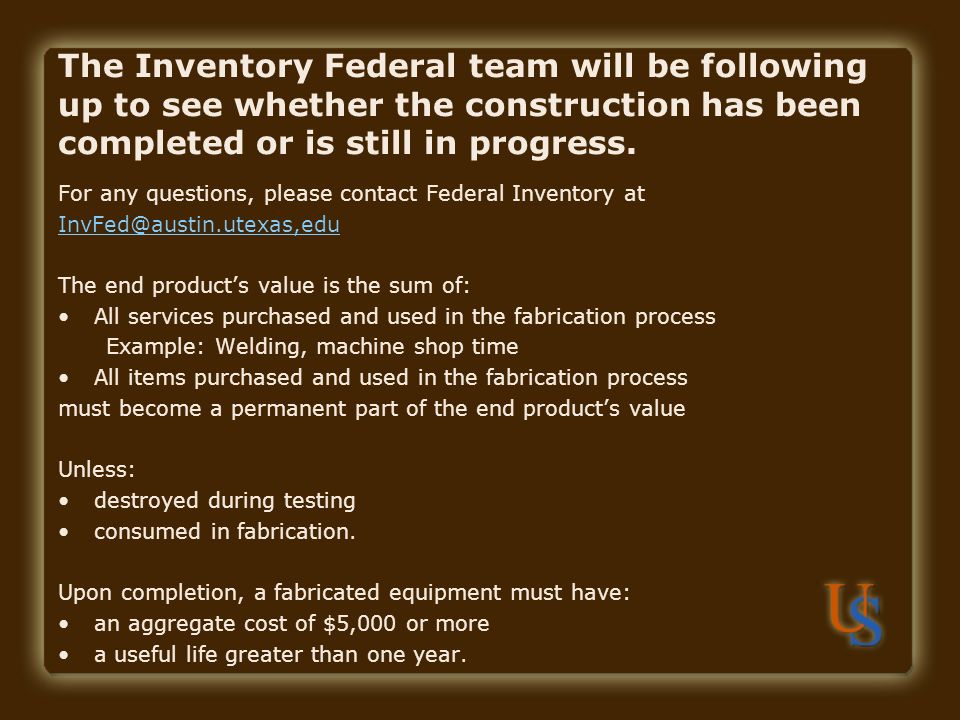 The Inventory Federal team will be following up to see whether the construction has been completed or is still in progress.