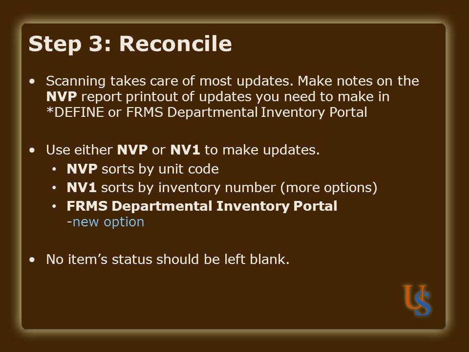 Step 3: Reconcile