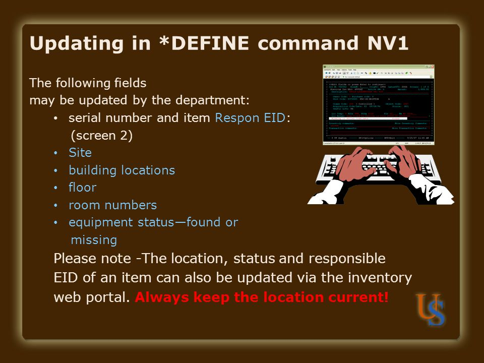 Updating in *DEFINE command NV1