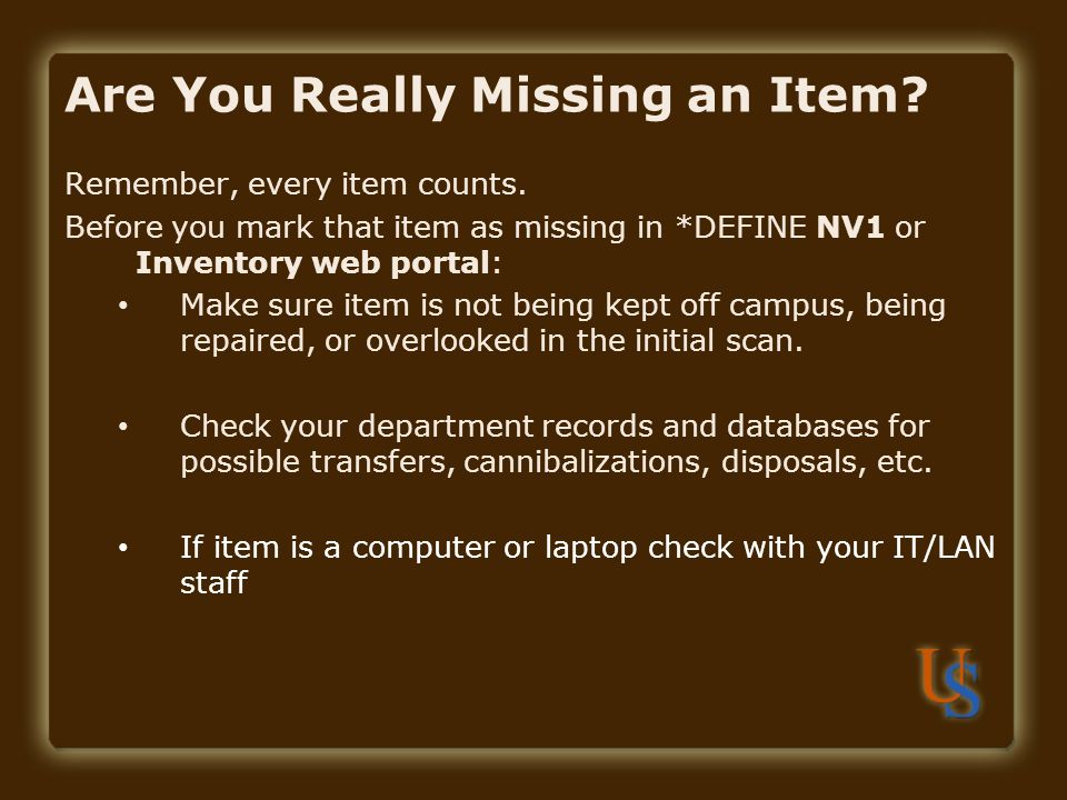 Are You Really Missing an Item