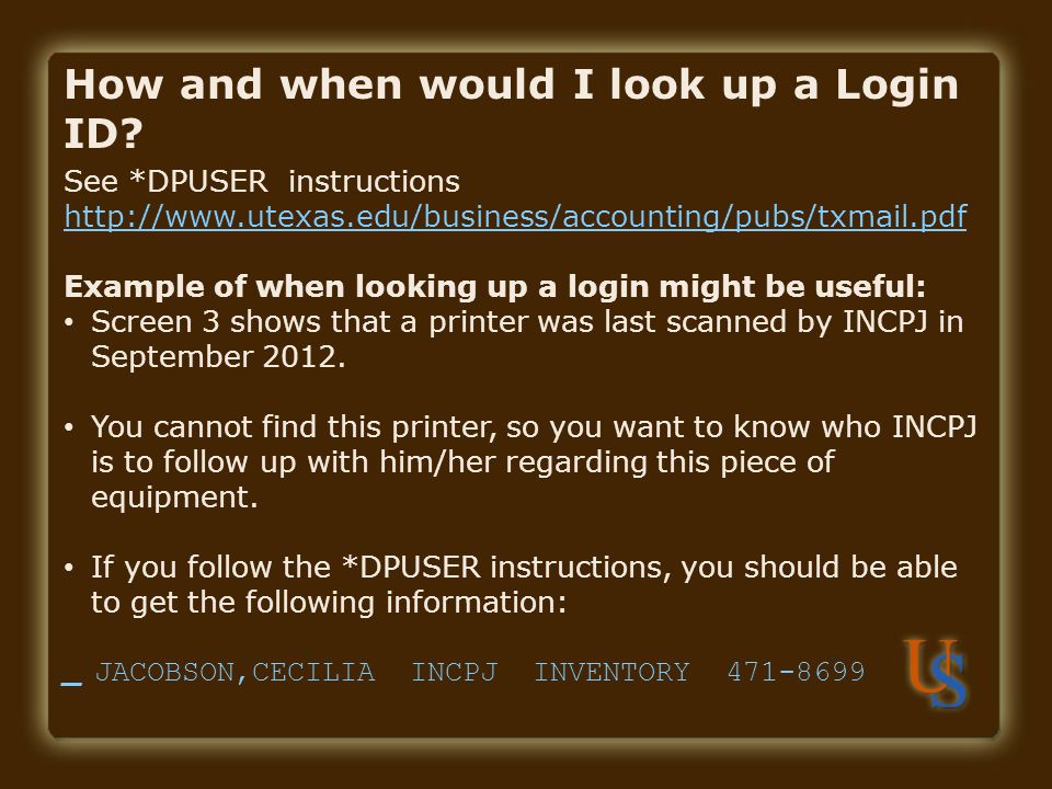 How and when would I look up a Login ID
