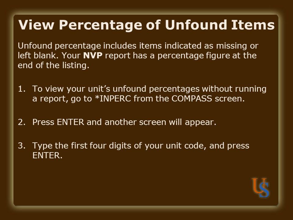 View Percentage of Unfound Items