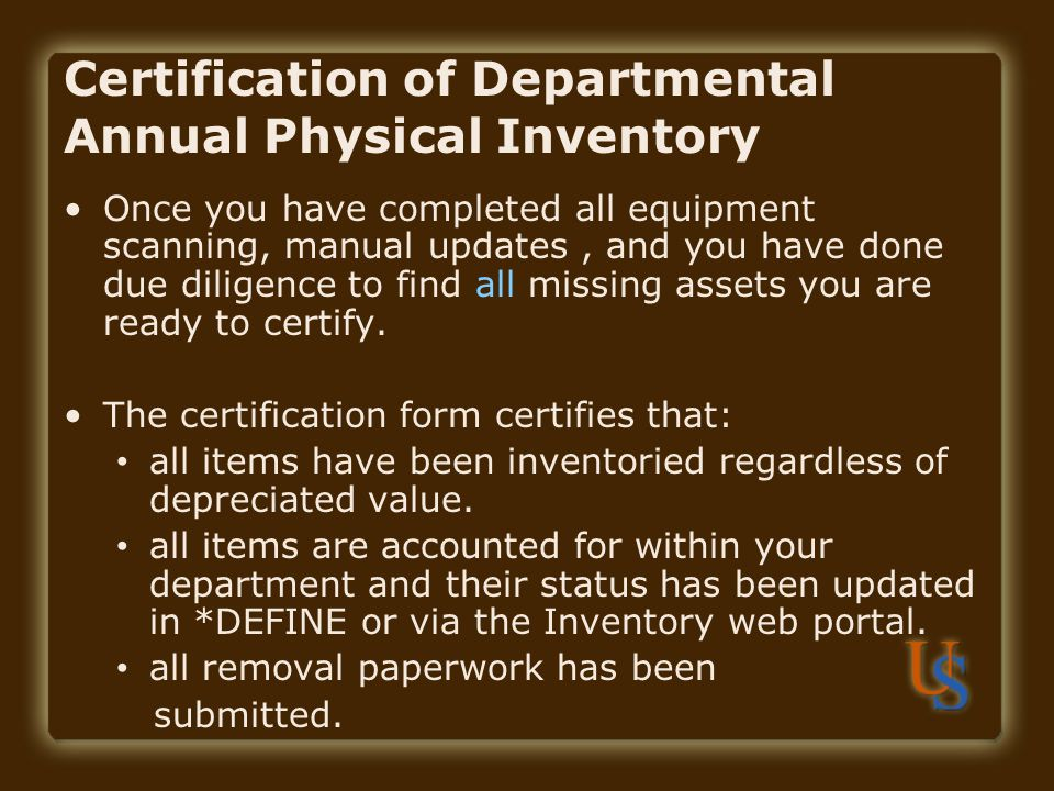 Certification of Departmental Annual Physical Inventory